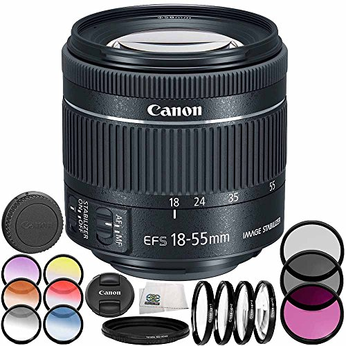 Canon EF-S 18-55mm f/4-5.6 IS STM Lens 8PC Accessory Bundle – Includes Manufacturer Accessories + 3PC Filter Kit (UV + CPL + FLD) + MORE - International Version (No Warranty) (White Box) by SSE
