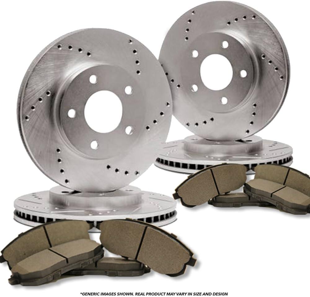 Front+Rear Kit Fits:- Mercedes-Benz High-End 8 Semi-Metallic Pads 4 Cross-Drilled Disc Brake Rotors 5lug