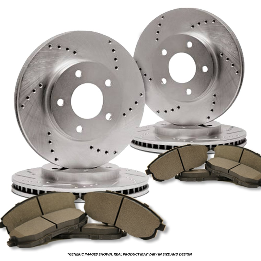 (Front+Rear Kit)(High-End) 4 Cross-Drilled Disc Brake Rotors + 8 Semi-Metallic Pads(5lug) frautoparts