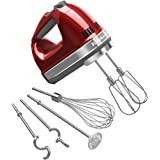 KitchenAid 9-Speed Digital Hand Mixer with Turbo Beater II Accessories and Pro Whisk - Candy Apple Red