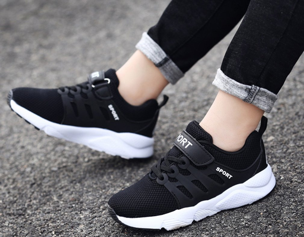 VECJUNIA Boy's Girl's Trendy Low Top Round Toe Anti-Slip Outdoor Sports Shoes (Black Double, 5.5 M US Big Kid) by VECJUNIA (Image #6)