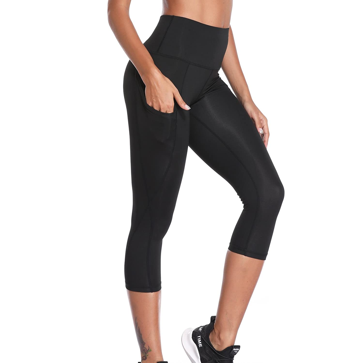 Joyshaper 3/4 Length Leggings with Pockets Women Black Cropped Capri Tights Slimming Yoga Pants High Waist Tummy Control Gym Workout Running 4 Way Stretch