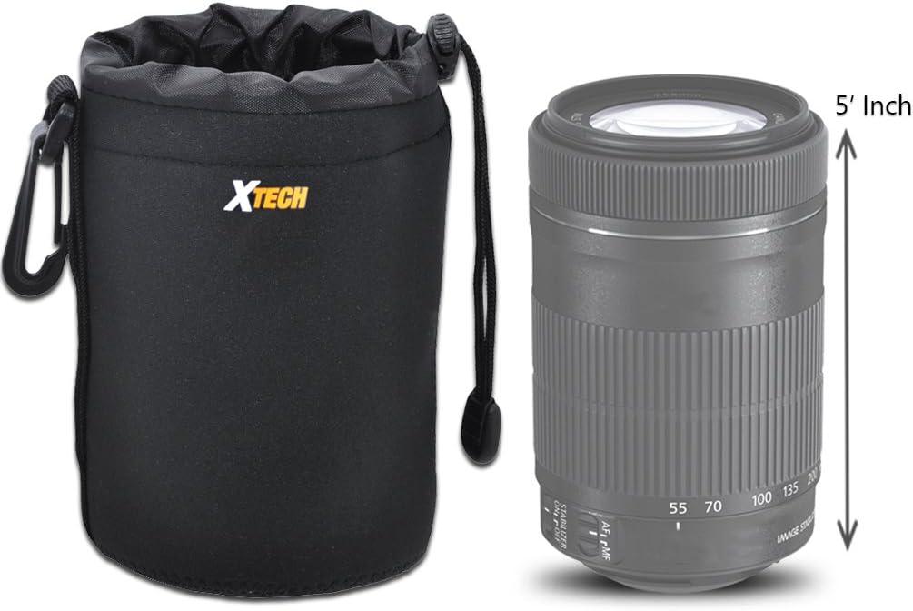 Xtech Medium Soft Neoprene Lens Pouch for Canon Pentax Fuji Panasonic Tamron Nikon Vivitar Sigma Konica /& Minolta Lenses Leica Sony