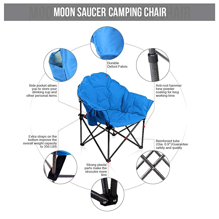 ALPHA CAMP Oversized Camping Chairs Padded Moon Round Chair Saucer Recliner Supports 500 lbs