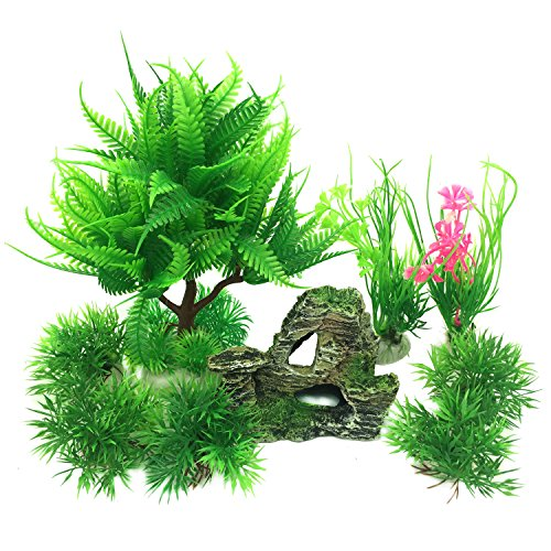 Pietypet Fish Tank Decorations Plants with Rockery view, 9pcs Green Aquarium Plants Plastic and Aquarium Mountain Reef Rock Cave Resin Fish Tank Ornament Decoration by Pietypet