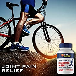 MSM + Glucosamine + Chrondrotin - 4700 MG - Joint & Arthritis Pain Relief Formula. All Natural, Healthy Support for Relief of Inflammation, Aches, Joint & Muscle Pain. Non-GMO. 200 Capsules.
