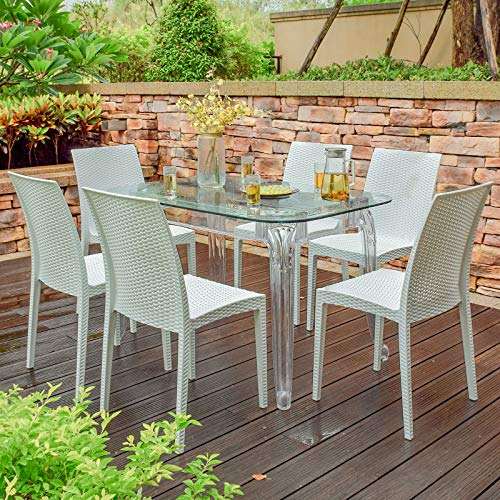 Rimdoc Outdoor Patio Dining Chairs, 6 Piece Modern Style Stackable Rattan Chairs,Vintage White Woven Seat Set of 6 for Dining Room/Cafe/Restaurant/Bistro/Bar/Camping (6 x Chairs)