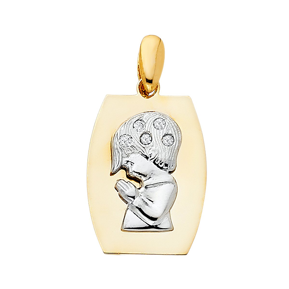 14k Yellow White Gold CZ Religious Praying Boy Pendant Height 19 MM Width 15 MM