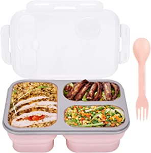 Lunch box - collapsible silicone food storage box, three-compartment lunch box with spoon and fork, can be used for traveling and camping, dishwasher, microwave, refrigerator.
