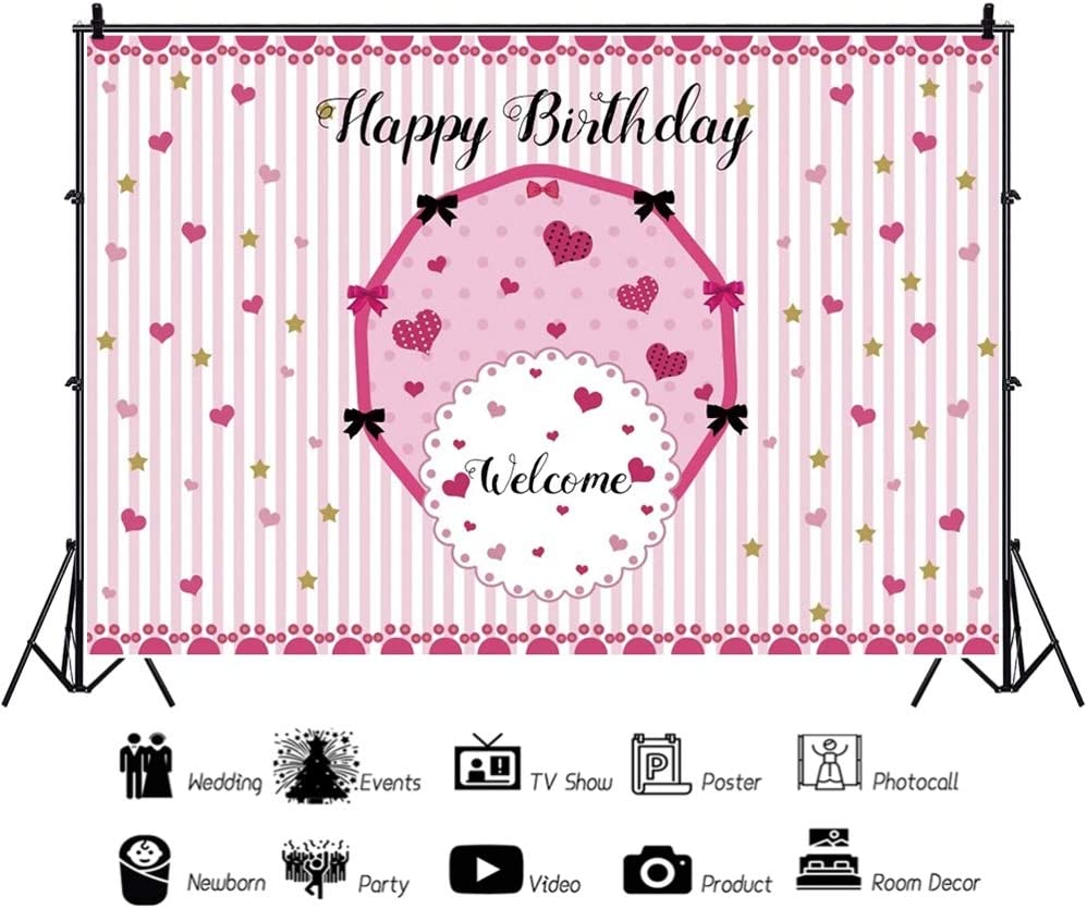 YEELE Pink Backdrop 10x7ft Princess Birthday Party Photography Background Baby Shower Party Photo Booth Banner Kids Acting Show Dessert Table Decoration Photoshoot Props Digital Wallpaper