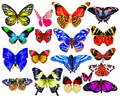 Butterfly Collection Jigsaw Puzzle - Butterflies 3 : A Collection of 18 Mini Shaped Puzzles Totaling 500 color coded pieces By Lafayette Puzzle Factory