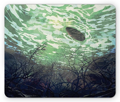 Underwater Branches (Fantasy World Mouse Pad by Ambesonne, Underwater World with Tree Branches Stones Waves and Reflection of Sun Digital Art, Standard Size Rectangle Non-Slip Rubber Mousepad, Green)