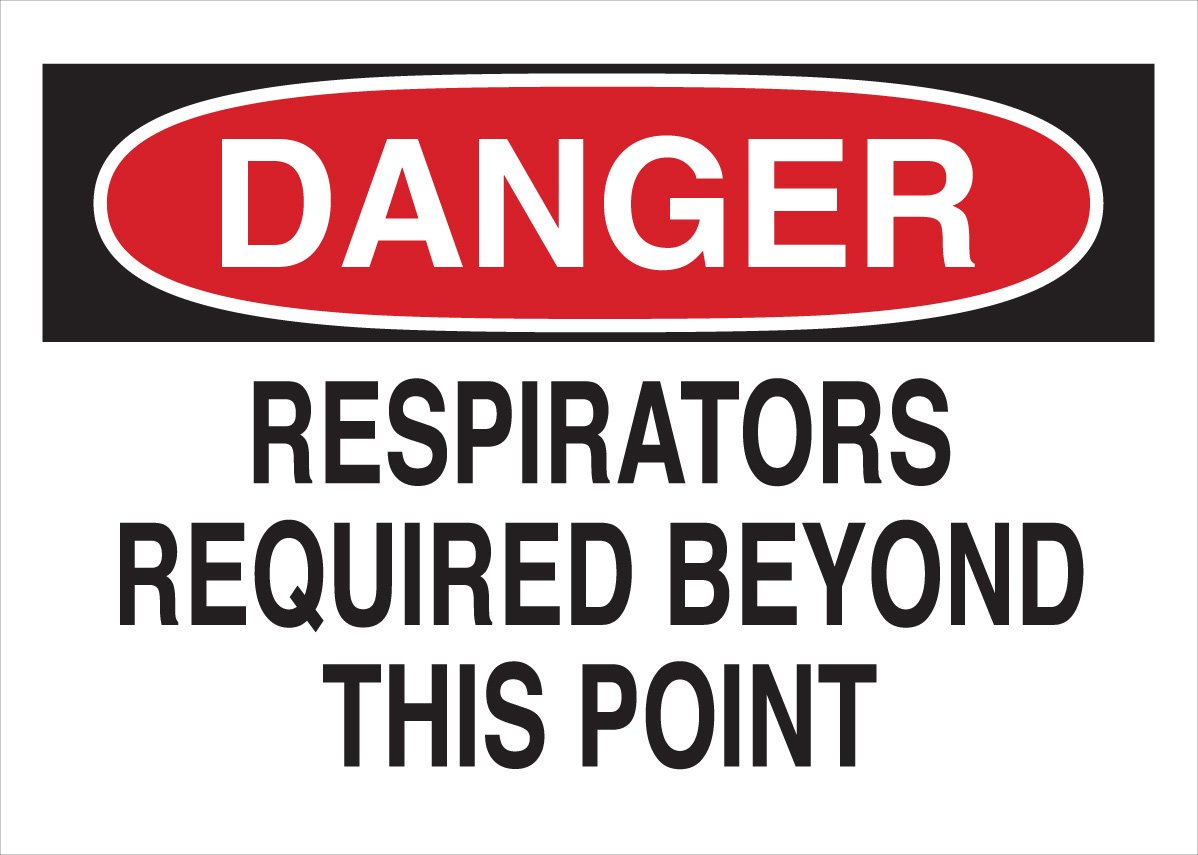 Legend Respirators Required Beyond This Point Brady 42798 Aluminum Protective Wear Sign 10 X 14