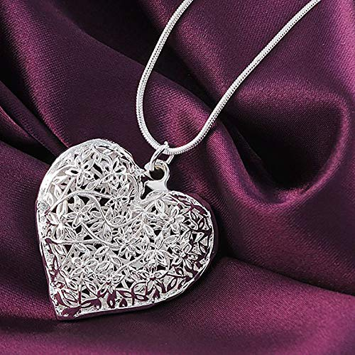 Gbell Clearance! Fashion Silver Simple Retro Jewelry Heart Hollow Charm Pendant Necklace Elegant for Girls Women (Silver) ()
