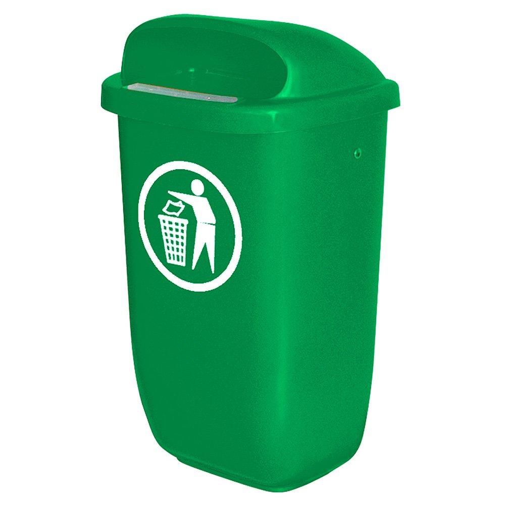 Abfallbehä lter fü r den Auß enbereich, 50 Liter, nach DIN 30713, Farbe: grü n BRB