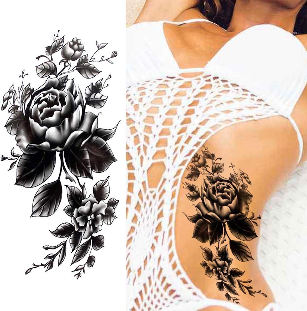 LAROI 10 Hojas Rosa Tatuajes Temporales Flor Pulsera Mujer Niñas ...