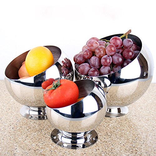 Multi-size Kitchen Stainless Steel Metal Mixing Pre Bowl BeveL Snack Dessert Fruit Condiment 18mm Food Holder Round Dish,Desk Trash Can, Storage Bin ,Buffet Container,Sample Display (Large with base)