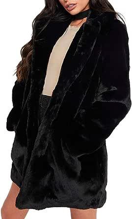 معطف شتوي للنساء من Salimdy معطف فرو صناعي دافئ خارجي معطف طويل الأكمام من الفراء مع جيوب