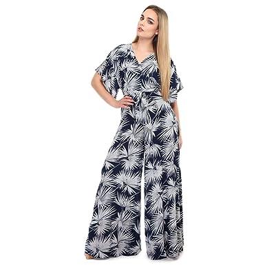 0a6962bd0f Collectif Vintage Women s Navy Akiko Palm Print Jumpsuit UK 18 ...