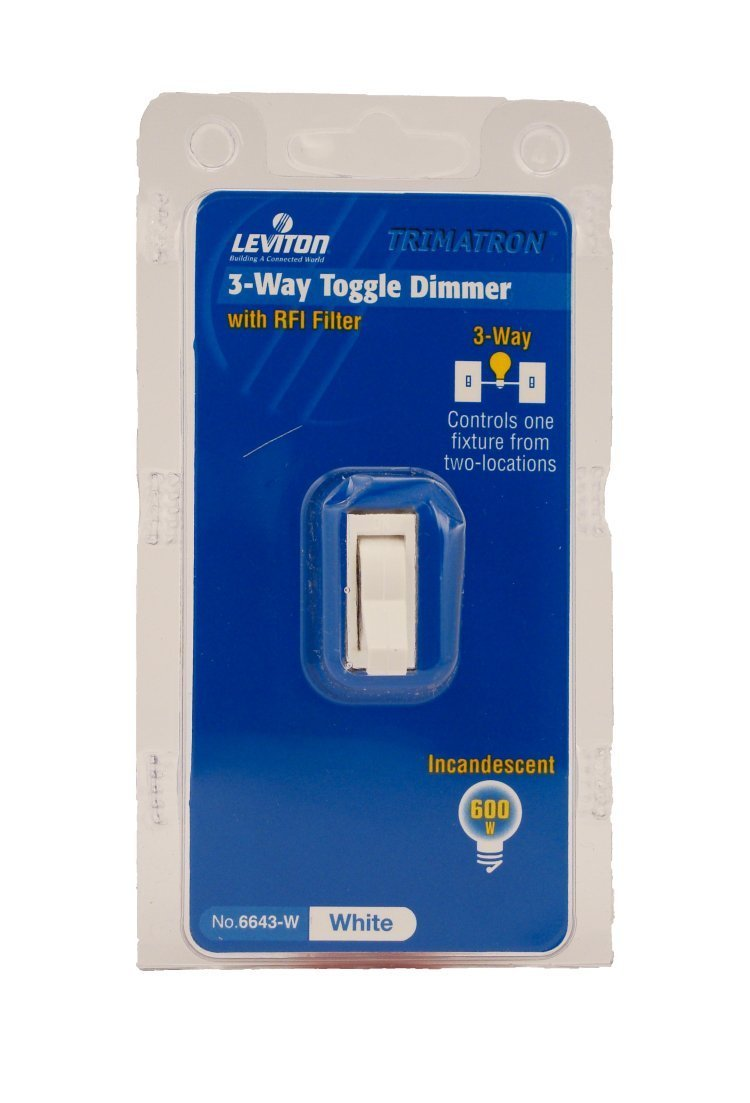 Leviton 6643 W 600w Incandescent Toggle Dimmer 3 Way White Wall Switch Wire Diagram Further With Switches