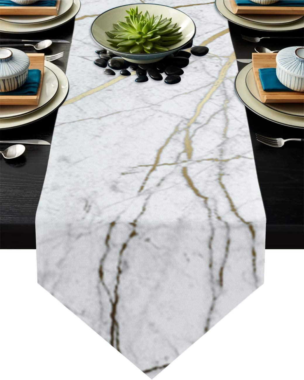 Cloud Dream Home Wild Symbol Marble Pattern Table Runner for Morden Greenery Garden Wedding Party Table Setting Decorations 16 x 72 Inches