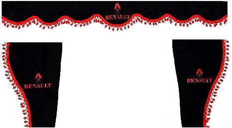 Tissu en Peluche Taille Universelle pour Camion G/én/érique Lot de 3 Rideaux Noirs avec Pompons Rouges Accessoires de d/écoration