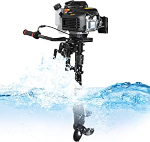 funchic Outboard Motor 4 Stroke 3.6 HP Boat Motor 55CC Boat Engine with Air Cooling System (Shipping from USA)