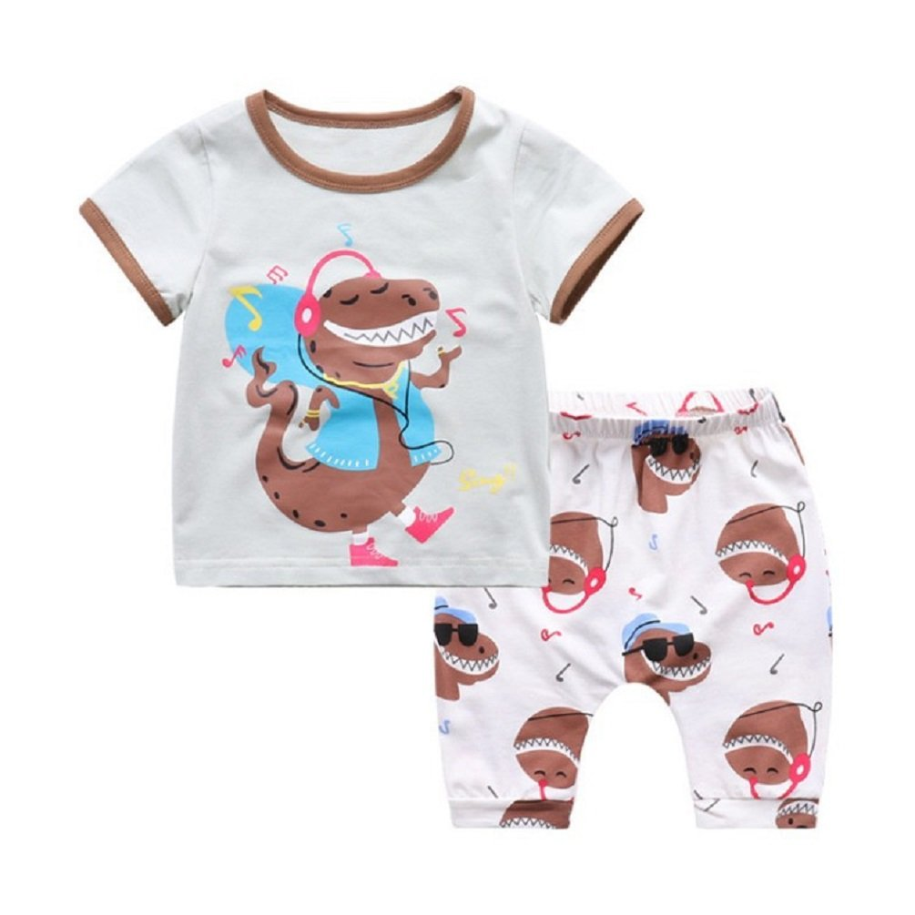 Summer Toddler Baby Boys Girls Casual Clothes Short Sleeve Tops+Pants Tee 2 Pcs Music Dinosaur Suits T-Shirts