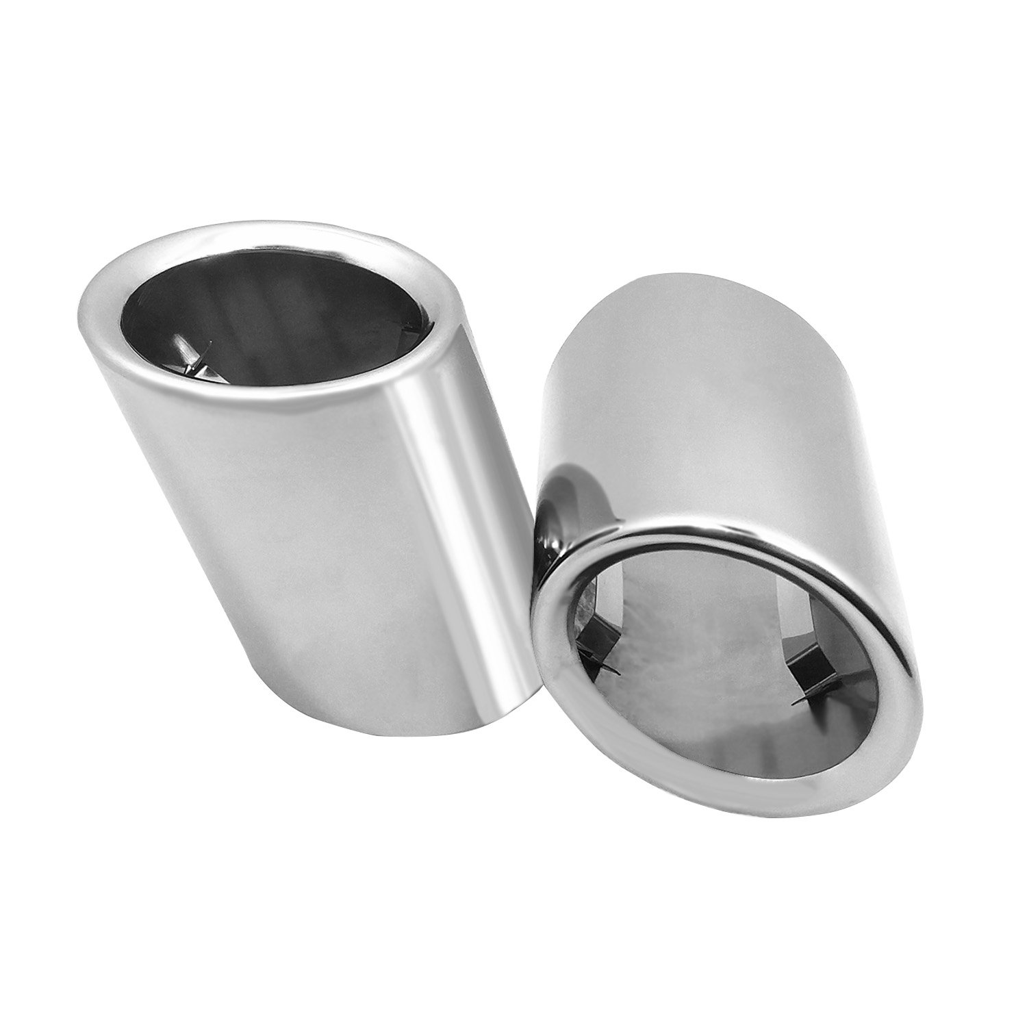 CICMOD NO SCREW Stainless Steel Chrome Exhaust Muffler End Tip Tailpipe For BMW 325 E46 2012-2014 (pack of 2)