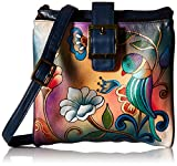 Anuschka Handpainted Leather Triple Compartment Travel Organizer, Portuguese Parrot