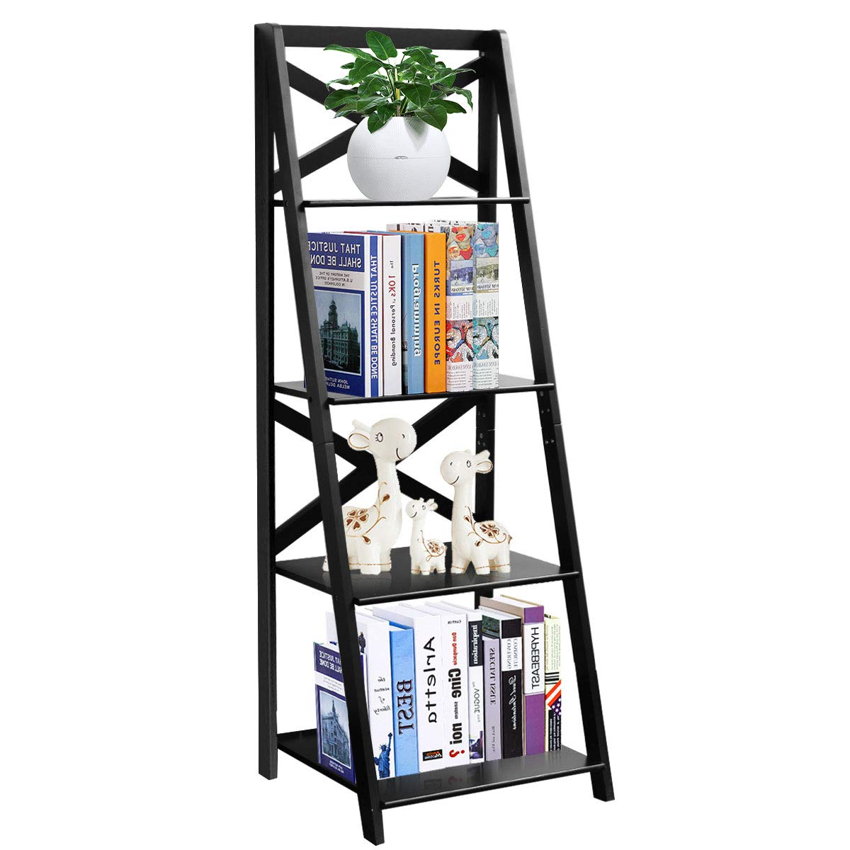 Tangkula 4-Tier Ladder Shelf Bookcase Leaning Free Standing Wooden Frame Decor Bookshelf Storage Flower Shelf Plant Display Shelf for Home Office