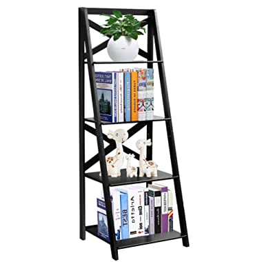 Tangkula 4-Tier Ladder Shelf Bookcase Leaning Home Office Free Standing Wooden Frame Decor Bookshelf Storage Flower Shelf Display Shelf