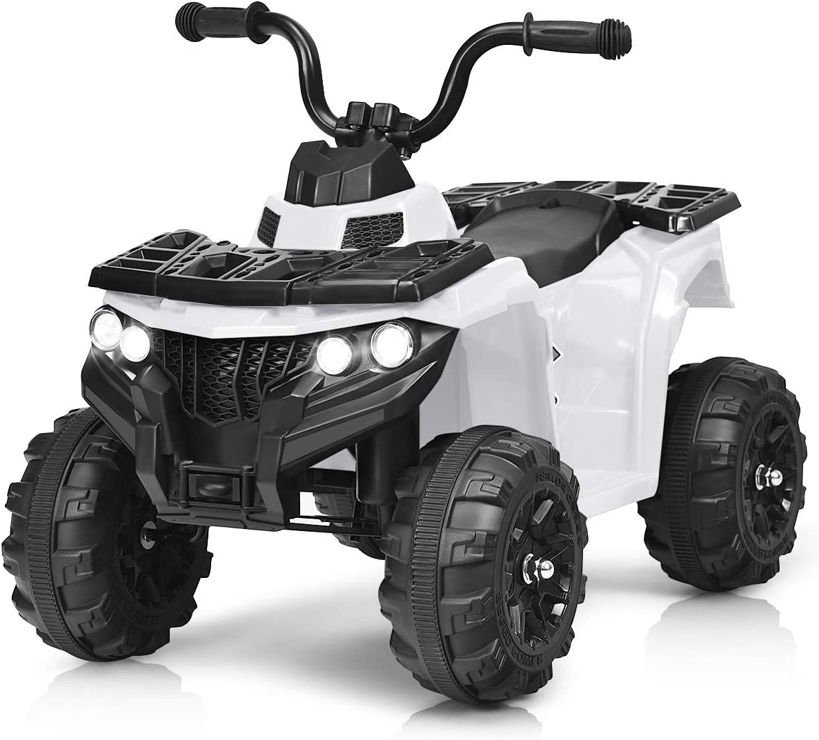 Costzon Ride on ATV, 6V Battery Powered Kids Electric Vehicle, 4 Wheeler Quad w/Headlights, MP3, USB, Volume Control