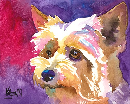 Yorkshire Terrier Yorkie Dog Fine Art Print on 100% Cotton Watercolor Paper ()