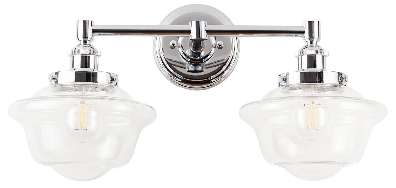 Hampton Bay 2 Light Chrome Bath Light 05659: Lavagna 2 Light LED Bathroom Vanity Chrome With Clear