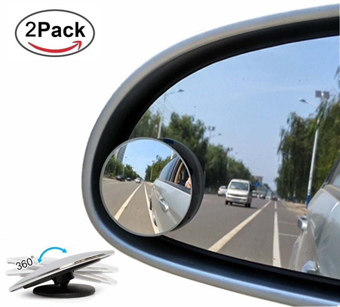 Lyauta Spiegel für den toten Winkel, um 360° drehbar + um 30° neigbar, verstellbar, HD-Konvex-Glas, Weitwinkel, Anbringung am Rückspiegel, für Auto, SUV, Motorrad, 2er-Pack.