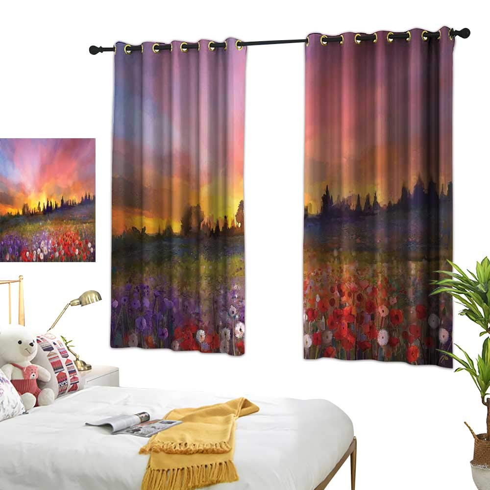 "LewisColeridge Kitchen Curtains Flower,Oil Painting Style View Composition of Poppies and Buds at The Sunrise Art Print,Multicolor,Rod Pocket Drapes Thermal Insulated Panels Home décor 42""x54"""