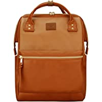 Kah&Kee Leather Backpack Diaper Bag with Laptop Compartment Travel School for Women Man (Buff/Camel, Large)