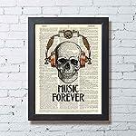 Skull in Steampunk Headphones Print Music Poster Studio Decor, Book Page Art 5