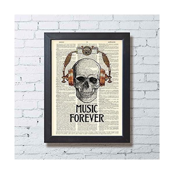 Skull in Steampunk Headphones Print Music Poster Studio Decor, Book Page Art 3
