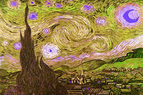 Starry Night Yellow Green Imitation by Kelissa Semple 36x24