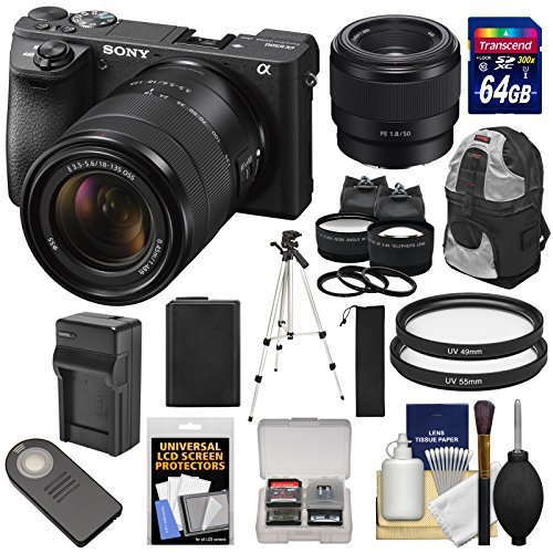 Sony Alpha A6500 4K Wi-Fi Digital Camera & 18-135mm & FE 50mm f/1.8 Lenses with 64GB Card + Battery & Charger + Backpack + Tripod + 2 Lens Kit