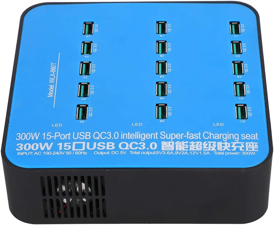 Wendry Multiple USB Charger Automatic Identification of Current Based on Equipment 15 Ports QC3.0 Fast Charge Interface Intelligent USB Charging Station US