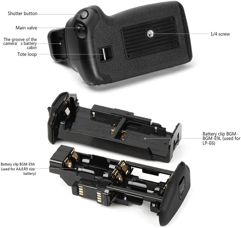 Yunchenghe BG-E21 Battery Grip Replacement Canon BG-E21 for Canon 6D Mark II Camera Can with Two Batteries LP-E6 LP-E6N Battery Grip