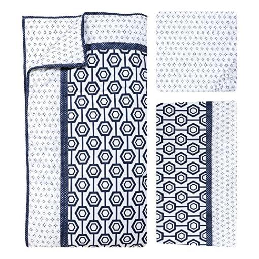 Trend Lab Hexagon 3 Piece Crib Bedding Set Navy//White