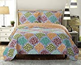 Dahlia California-King Size, Over-Sized Coverlet 7pc Bedding set, Luxury Microfiber Printed Quilt by Royal Hotel