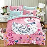 KFZ Children Bedding Cotton Duvet Cover Flat Sheet Pillowcases MS Queen 78''x91'' Animal Cartoon Owl Whale Cat Duck Forest Party Design No Comforter 4pcs/set (Swan Dance, Pink, Queen 78''x91'')
