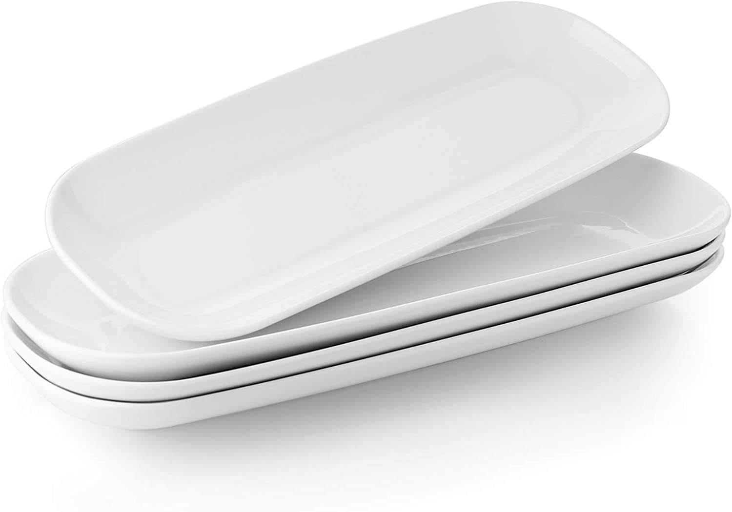 Teocera Porcelain Serving Platter Set, Serving Plates - 15.5 Inches, Serving Trays for Appetizers, Dessert, Food, Parties - Large - Set of 4, White