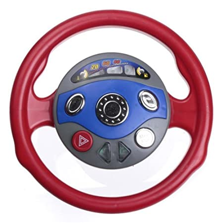 Kungfu Mall Kids Car Steering Wheel Toy Back Window Seat Game Horn Electronic Sounds Light