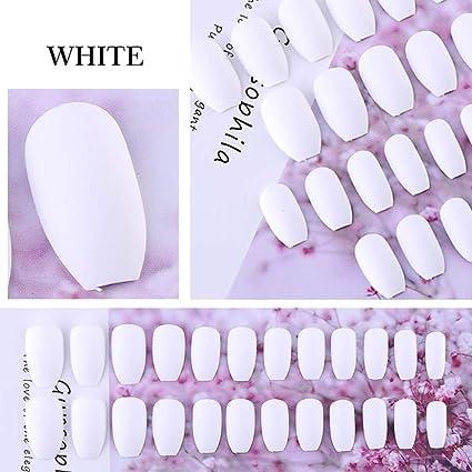 24 pegatinas de uñas falsas mate para uñas cortas, forma de ataúd ...